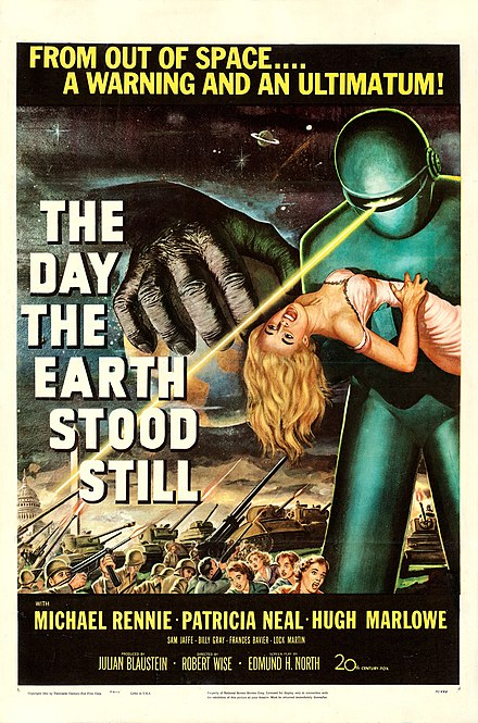 Theatrical poster for the American release of the 1951 film The Day the Earth Stood Still. Copyright 1951 by Twentieth Century-Fox Film Corp. - Scan via Heritage Auctions.